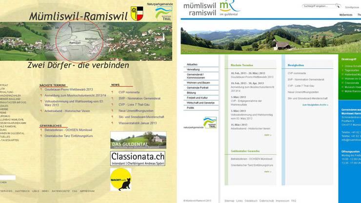 Altes und neues Erscheinungsbild der Homepage.