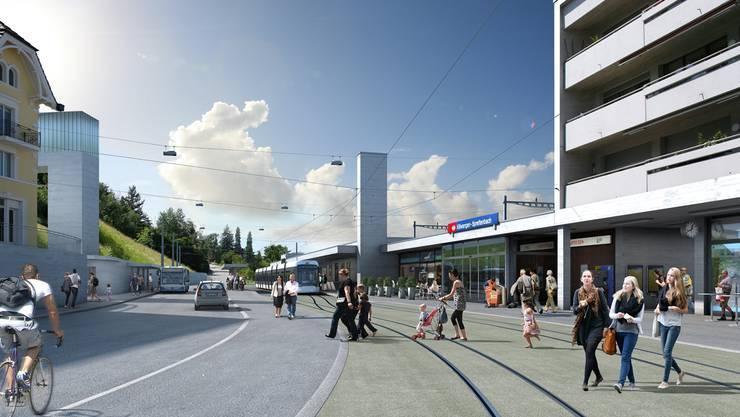 «Die erste Etappe ist auch ohne Verlegung des Trams realisierbar» (Visualisierung der Limmattalbahn).