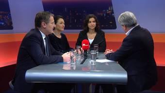 Marianne Binder, Präsidentin der CVP Aargau, Gabriela Suter, Präsidentin der SP Aargau, und Thomas Burgherr, Präsident der SVP Aargau diskutieren den Fall im TalkTäglich.