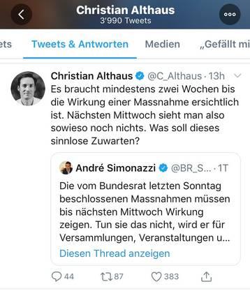 Kritik via Twitter: Der Berner Epidemiologe Christian Althaus.