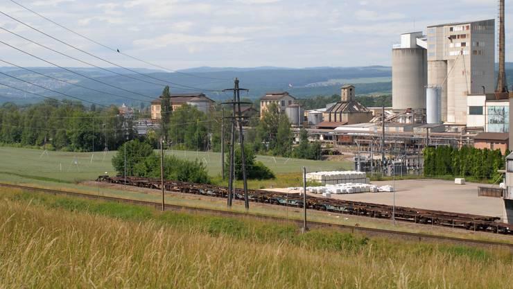 Geplant: Links befindet sich das Grundstück für die Biogas-Produktionsanlage – rechts das Areal der Solvay Schweiz AG. (Walter Schwager)