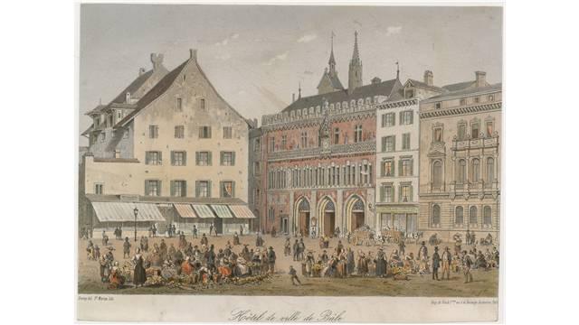 Das Basler Rathaus, das Haus zum Pfaueneck und der Marktplatz um 1860.