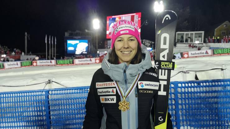 Teamleaderin Wendy Holdener gewinnt bereits ihr zweites WM-Gold in Schweden