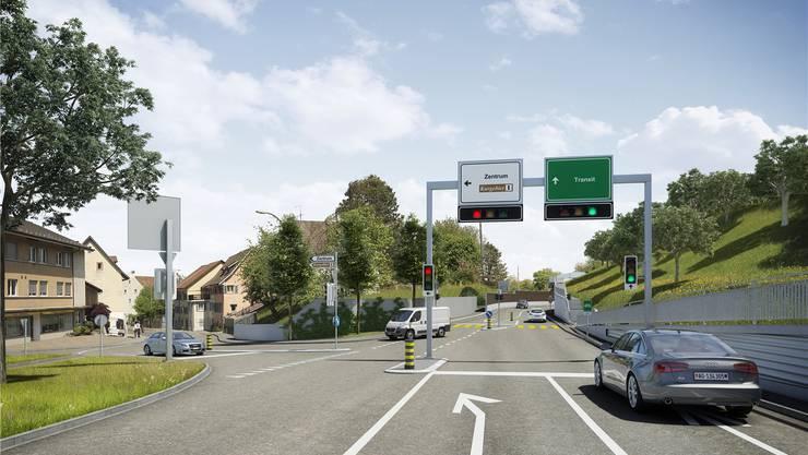 Vom Zurziberg her führt die geplante Ostumfahrung die Fahrzeuge geradeaus und nach 200 Metern in einen Tunnel. Wer nach Bad Zurzach will, muss hier schon links abbiegen.