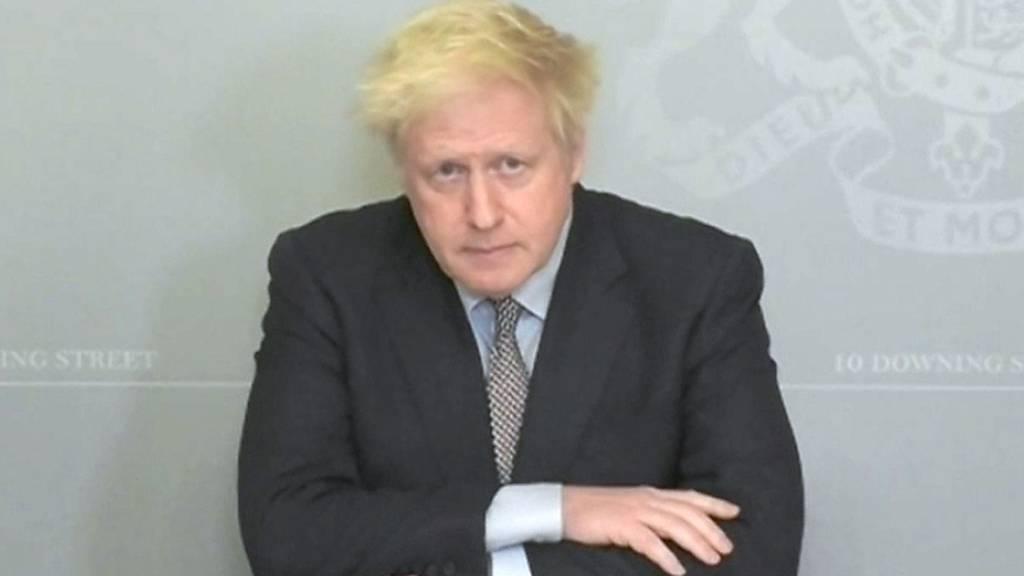 Boris Johnson, Premierminister von Grossbritannien, spricht in einer Videokonferenz in der 10 Downing Street.