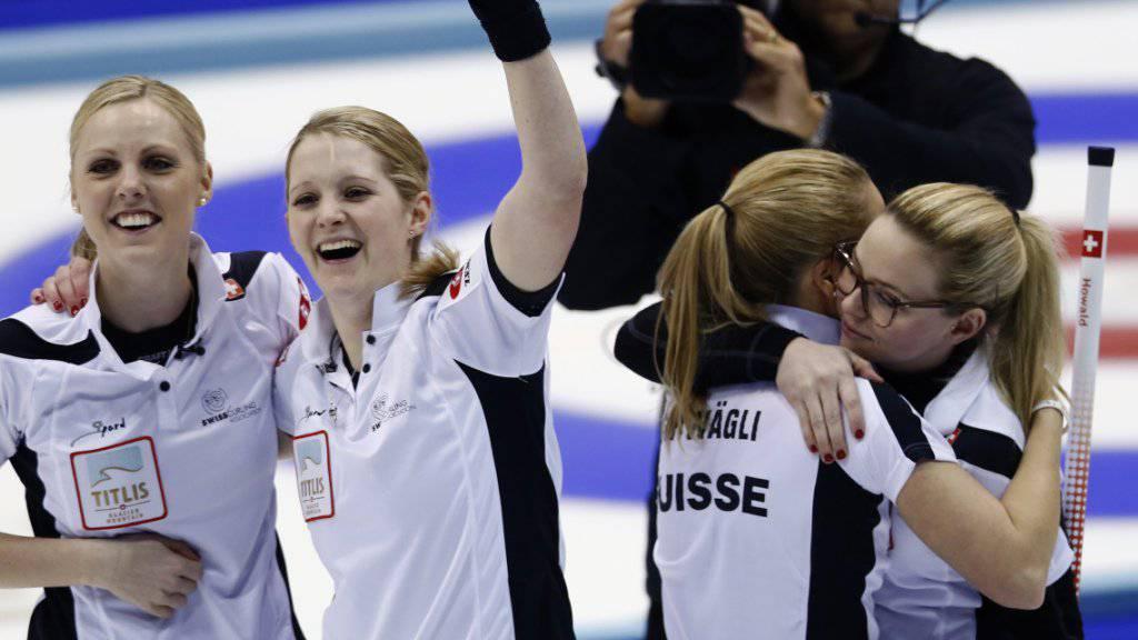 Die WM ist ihre Bühne (von links): Nadine Lehmann, Marisa Winkelhausen, Nicole Schwägli, Alina Pätz