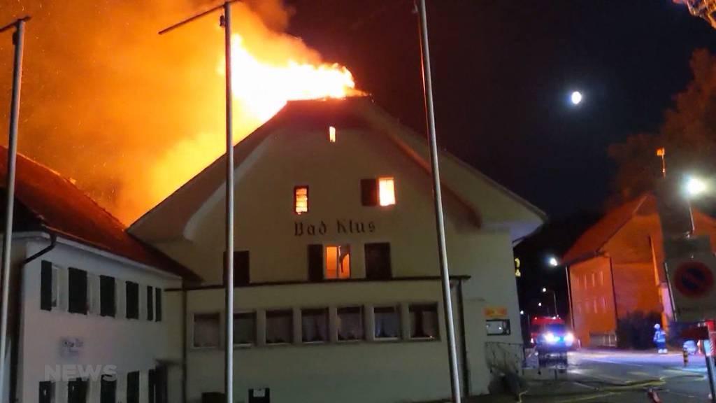 Brand in Bad Klus, Oensingen: Tradition-Restaurant soll restauriert werden