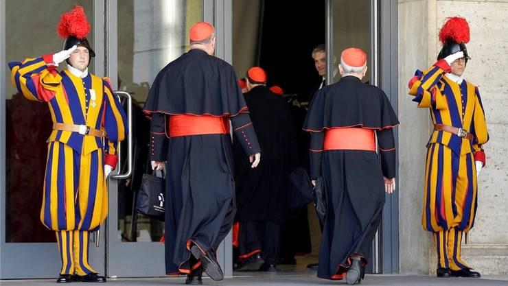Schweizergardisten im Dienst, als Kardinäle 2013 einen neuen Papst wählten.ZVG