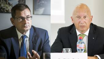 Daniel Heller, VR-Präsident Kantonsspital Baden AG, und Philip Funk, VR-Präsident Kantonsspital Aarau AG, halten eine Privatisierung für ein realistisches Szenario.