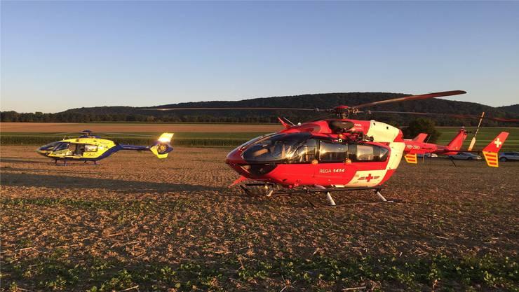 Im Aargau kommt meist der gelbe AAA-Heli zum Einsatz, der im Birrfeld stationiert ist. Manchmal fliegt auch die Rega.