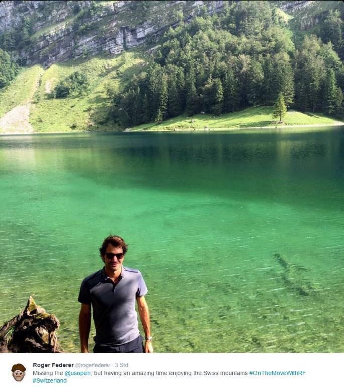 "Roger Federer: ""An amazing time enjoying the Swiss mountains"" (© Twitter/Facebook)"
