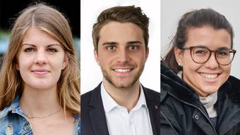 Ronja Jansen (Präsidentin der Juso), Tobias Vögeli (Präsident der Jungen GLP) und Sarah Bünter (Präsidentin der Jungen CVP).