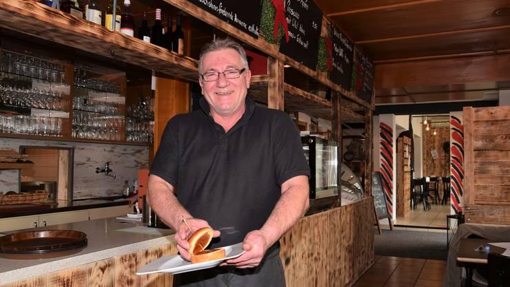 Ende des vergangenen Jahres brachte Joe Klossner seine Gäste zum Schmunzeln, weil er einen Trump-Burger anbot: Brioche-Bun und Ketchup, sonst inhaltlos.