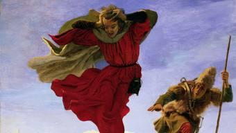Ford Madox Brown, Manfred auf der Jungfrau, 1841/1861, Öl auf Leinwand, 140,2 x 115 cm. Wäre zu sehen in der Ausstellung «Die Romantik in der Schweiz» im Kunsthaus Zürich. (Teilansicht, ganzes Bild weiter unten im Text)