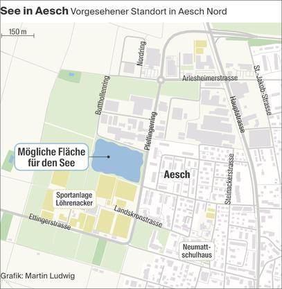 Gleich bei der Sportanlage Löhrenacker: Hier soll der Aescher See angelegt werden.