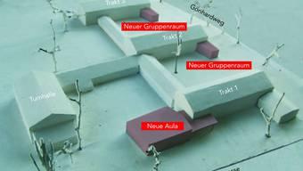 Die Motion fordert zwei vollwertige Turnhallen für das Gönhardschulhaus Aarau.  Im Architekturmodell sind die bereits geplanten Neubauten violett eingefärbt; die bestehende Turnhalle befindet sich ganz links