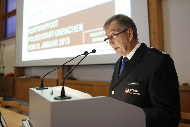 Robert Gerber am Korpsrapport der Stadtpolizei Grenchen im Jahr 2013