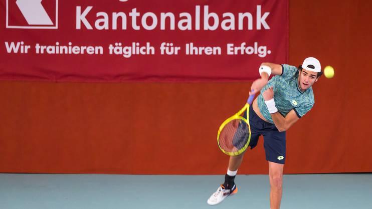 Matteo Berrettini steht nach seinem Sieg gegen Sami Reinwein im Endspiel des 2. Tennis Pro-Open Aargau.