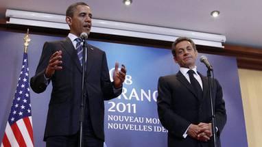 Barack Obama (l.) und Nicolas Sarkozy in Deauville vor den Medien
