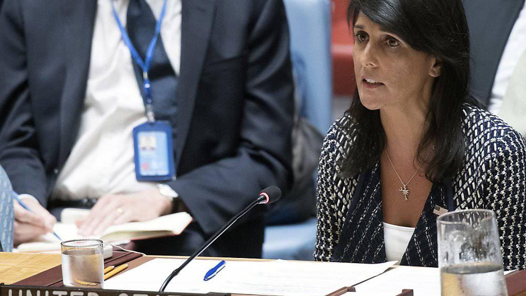 Sie dürfte am Montag vor dem UNO-Sicherheitsrat erneut schärfere Sanktionen gegen Nordkorea fordern: US-Botschafterin Nikki Haley. (Archivbild)