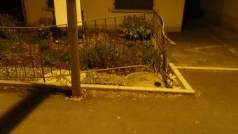 Der beschädigte Gartenzaun in Niederlenz.