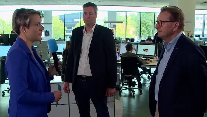 «Es funktioniert auch ohne Zwangsmassnahmen»: Christian Glur (SVP, contra Energiesetz) und Hans-Ruedi Hottiger (parteilos, pro) im Interview bei Tele M1.
