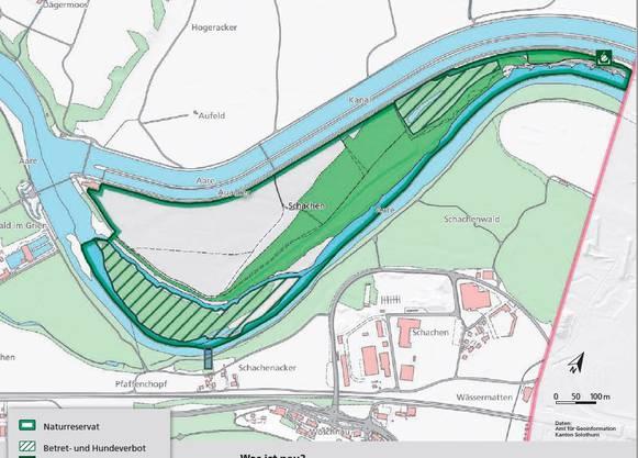 Die beiden grün schraffierten Flächen des Naturreservats Grien-Wöschnau dürfen nicht mehr betreten werden.