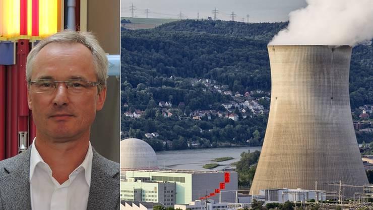 Andreas Pfeiffer leitet das Kernkraftwerk Leibstadt seit 2010. Im Hintergrund ist der Rhein und die deutsche Nachbarschaft zu sehen.