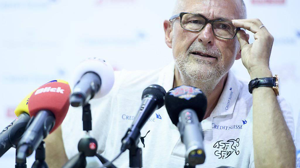 SFV-Präsident Peter Gilliéron bei einer Medienkonferenz anlässlich der WM in Russland