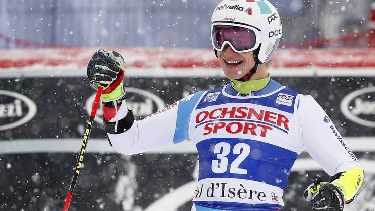 Marco Odermatt freut sich über seine bestes Ergebnis im Weltcup.