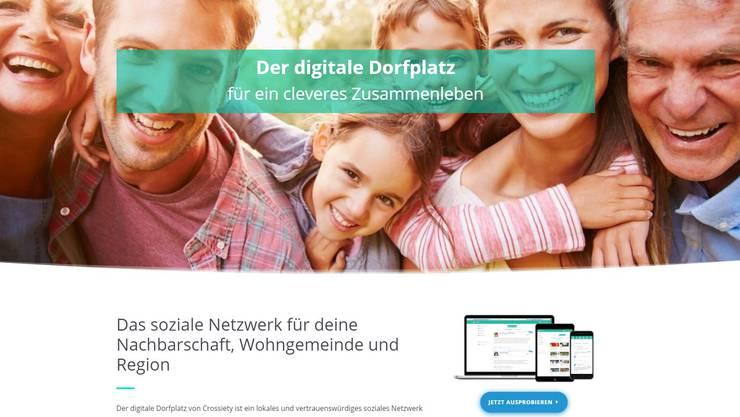 Die Homepage von Crossiety