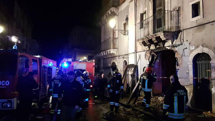 Das von der Gasexplosion betroffene Haus in der Hafenstadt Catania an der Ostküste Siziliens.
