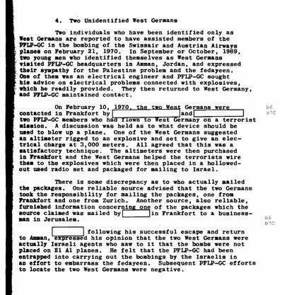 Der FBI-Report nennt «Two Unidentified West Germans» als Beteiligte für das Bombenattentat.