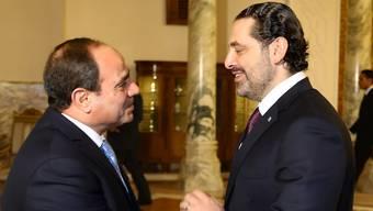 Ägyptens Staatschef Abdel Fattah al-Sisi empfängt Saad Hariri vor dessen Rückkehr nach Beirut