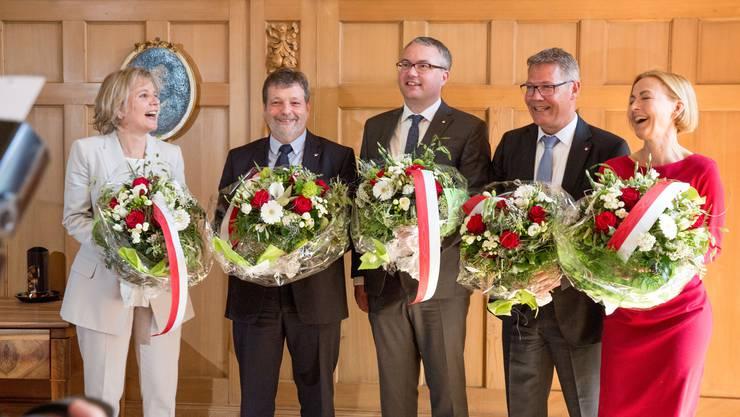 Der neue Solothurner Regierungsrat: v.l.: Brigit Wyss (Grüne), Roland Heim (CVP), Remo Ankli (FDP), Roland Fürst (CVP) und Susanne Schaffner (SP).