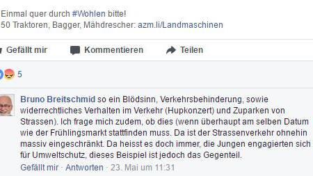 Bruno Breitschmids Kommentar auf Facebook