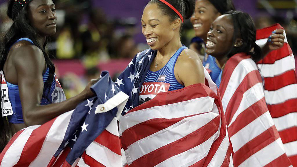Allyson Felix avancierte mit zweimal Staffel-Gold zur erfolgreichsten Athletin an Weltmeisterschaften