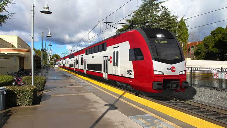 Auffälliges Detail an den Doppelstockzügen für Kalifornien: Unterschiedlich hohe Perronkanten in den Bahnhöfen erfordern Türen mit zwei Aussteigehöhen.HO