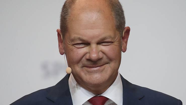 Olaf Scholz (SPD), Bundesminister der Finanzen, nimmt an einer Pressekonferenz teil, auf der er als Kanzlerkandidat seiner Partei für die Bundestagswahl 2021 vorgestellt wird. Foto: Wolfgang Kumm/dpa
