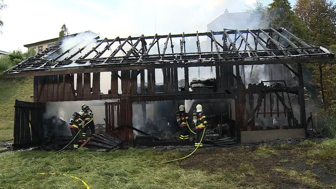 Vollbrand: Schopf in Staffelbach stand in Flammen