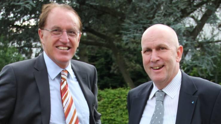 Peter Spring (links) und Urs Leuenberger strahlen um die Wette. Die beiden Wider duellieren sich ums Amt des Gemeindeammanns. LIS