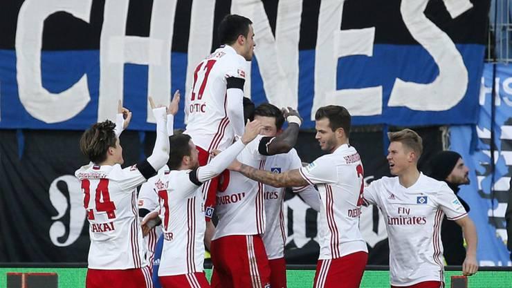 Ein ungewohntes Bild: Jubel beim Hamburger SV