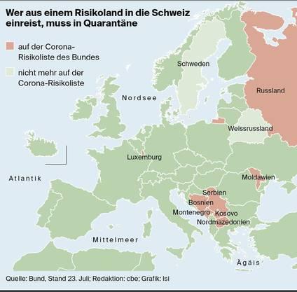 Markiert sind die Risikogebiete in Europa.