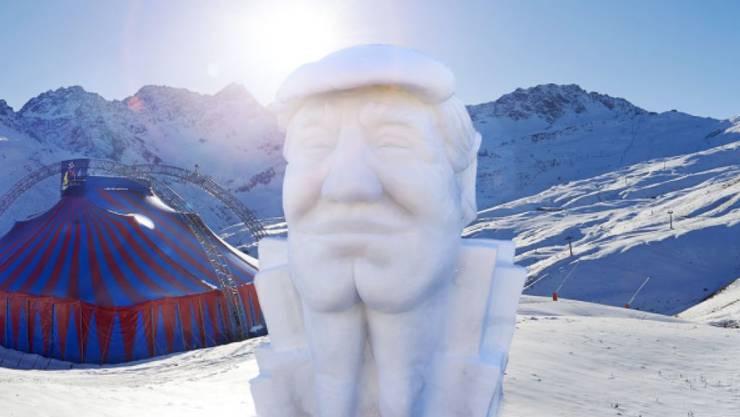 Der Schneemann des Jahres, Donald Trump darstellend, vor dem Zelt, in dem am (heutigen) Donnerstag die Jubiläumsausgabe des Arosa Humor Festivals eröffnet wird.