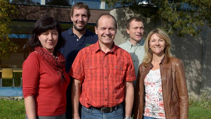 Im Bucheggberg gibts nach 5 Jahren wieder eine Gewerbeausstellung. Von links: Rosmarie Kohler (Aktuarin), Christoph Aeschbacher (Bau), Ruedi Meister (Vizepräsident), Jürg Affolter (Bau), Helene Wyss (Kasse).