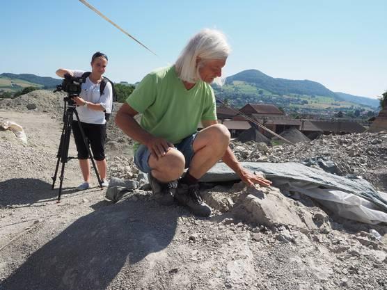 Grabungsleiter Ben Papst zeigt, wo der Saurier in der Fricker Tongrube liegt.