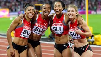 Mujinga Kambundji, Sarah Atcho, Salome Kora und Ajla Del Ponte (l.n.r) überzeugen mit der Staffel an der WM in London. Sie lieferten ihr Bestresultat ab.