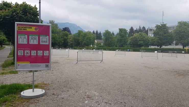 Der Schanzenplatz, vorbereitet für den Solothurner Märet
