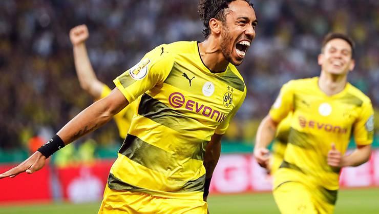Dortmunds Topskorer Pierre-Emerick Aubameyang nach dem entscheidenden Tor im Cupfinal