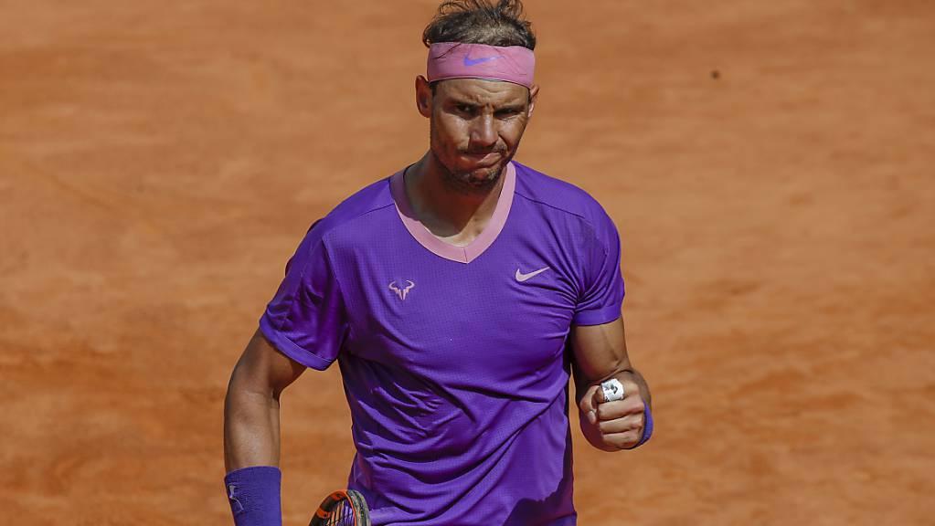 Rafael Nadal ballt in Rom nach fast dreieinhalb Stunden die Siegerfaust.